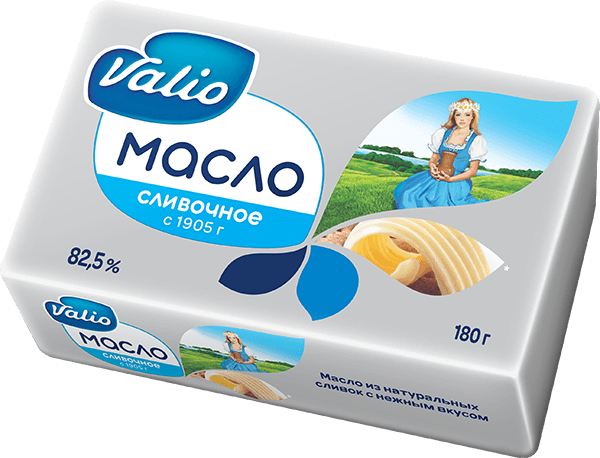 Масло Valio кислосливочное 82,5%, 180 г