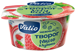Творог Valio с клубникой Clean Label®, 3.5 %, 140 г