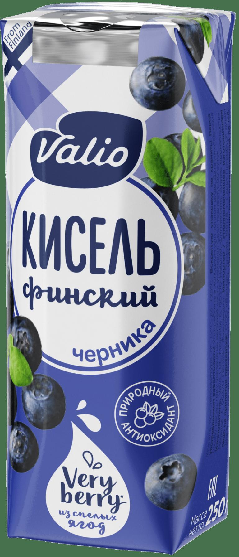 «Кисель Valio» безалкогольный напиток  из черники, обогащенный витамином С, 250 г