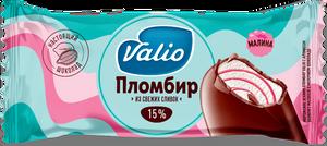 Мороженое эскимо пломбир с ароматом ванили с малиной в молочном шоколаде Valio, 80 г