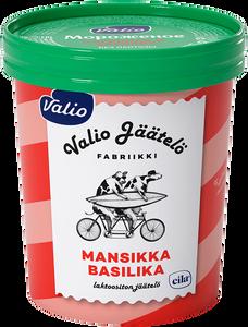 Мороженое сливочное ванильное с наполнителем «Клубника и базилик» Valio