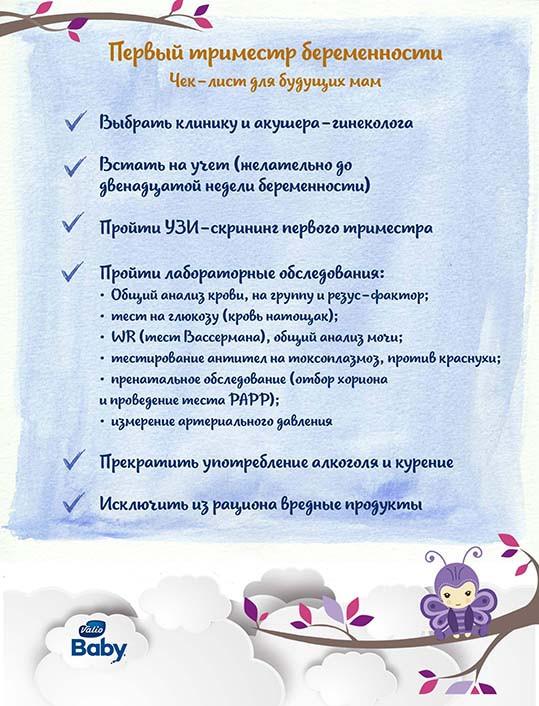 чек лист по первому триместру беременности